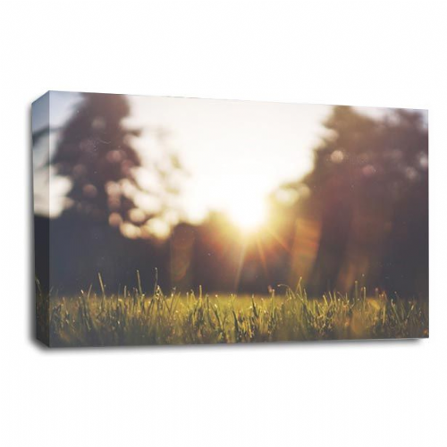 Sunset Landscape Wall Art Picture Orange Golden Last Rays Print